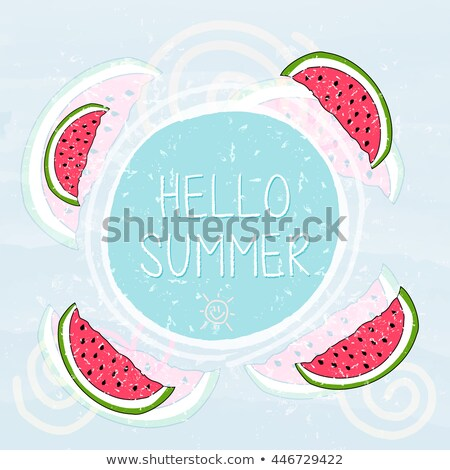 Hello Summer In Frame With Watermelons And Sun Smile Blue Grung Foto stock © marinini
