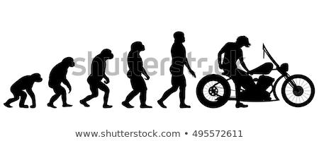 Menselijke evolutie motorfiets illustratie man zonsondergang Stockfoto © adrenalina