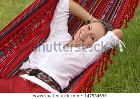 Schöne Frau Hängematte lange Haare bikini top Stock foto © dash