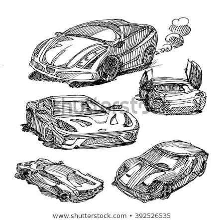 Voiture de course croquis icône vecteur isolé dessinés à la main Photo stock © RAStudio