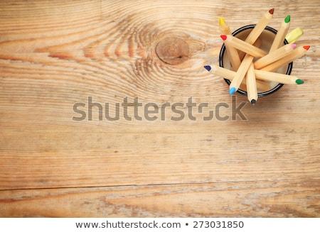 Zeit lernen Holztisch Wort Büro Uhr Stock foto © fuzzbones0