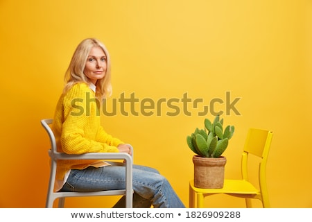 happy young casual woman in jeans clothes sitting on chair stock photo © feedough