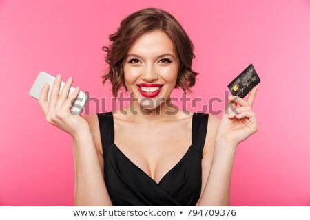 bela · mulher · batom · vermelho · cartão · de · crédito · compras · pessoas - foto stock © dolgachov