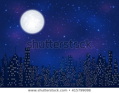 halloween · melancólico · noche · paisaje · grande · luna · llena - foto stock © romvo