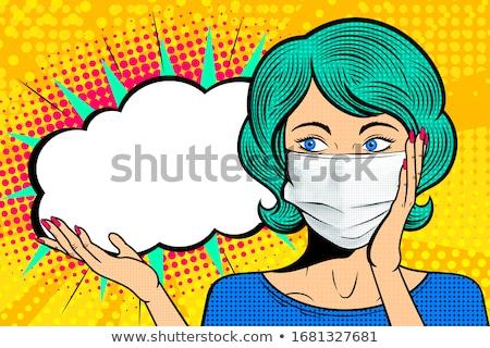 Поп-арт женщину комического речи пузырь Pin вверх Сток-фото © balasoiu