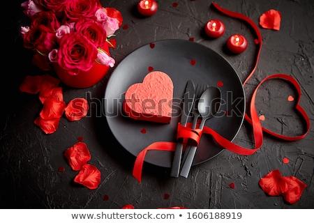 Zwarte diner plaat coupe Stockfoto © Digifoodstock