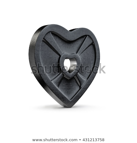 Strong heart and barbell. Fitness love isolated Stock photo © popaukropa
