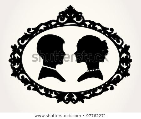 wedding bride and groom silhouette stock photo © krisdog