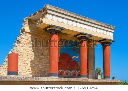ruins of knossos palace with famous red columns crete greece stock photo © tuulijumala