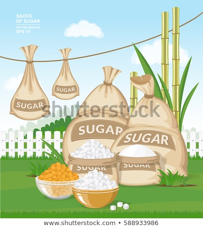 Brown cane sugar cubes in a glass bowl Stock photo © user_11224430