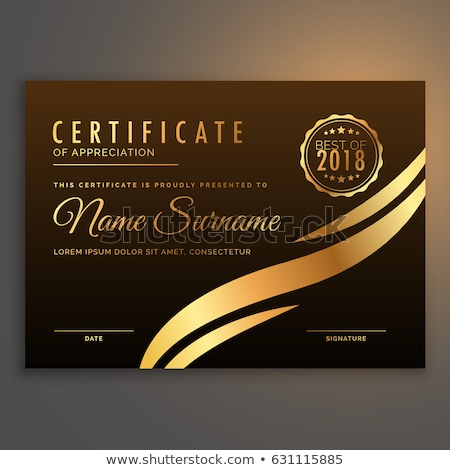 stylish premium certificate design in golden color stock photo © SArts
