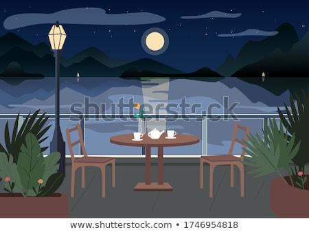 Romantikus vacsora holdfény illusztráció bor asztal Stock fotó © adrenalina