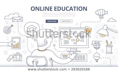 Afstand leren doodle ontwerp iconen opschrift Stockfoto © tashatuvango