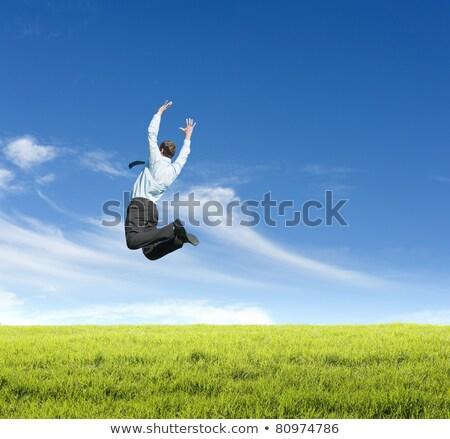 Adam atlama alan açık gökyüzü orman gitar Stok fotoğraf © wavebreak_media
