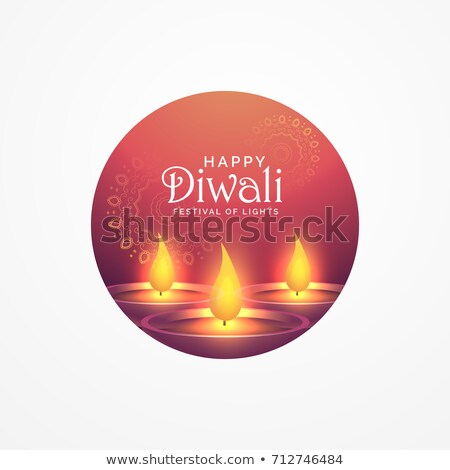 awesome diwali greeting card design with burning diya for festiv Stock photo © SArts