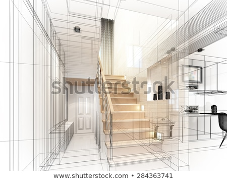 3d house on design sketches and blueprints stock photo © johanh