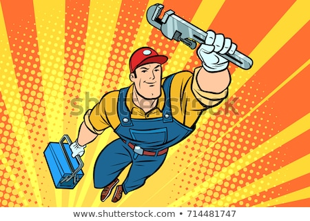 male repairman with a wrench flying superhero stock photo © rogistok