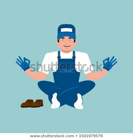 Plumber yoga. Fitter yogi. Service worker Serviceman relaxation  Stock photo © popaukropa