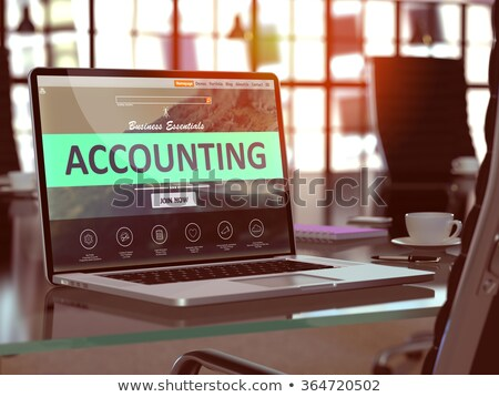 Landing Page of Laptop with Accounting Records Concept. 3D. Stock photo © tashatuvango
