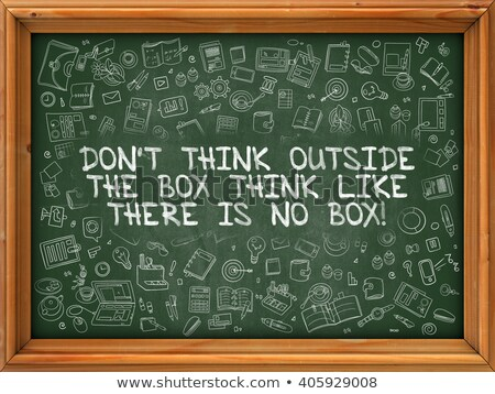 Green Chalkboard with Hand Drawn Think Outside the Box. Stock photo © tashatuvango