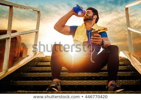 Izmos férfi sport táplálkozás fiatal ázsiai Stock fotó © LightFieldStudios