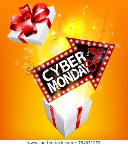 cyber monday sale exploding gift sign stock photo © krisdog