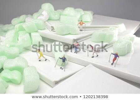 миниатюрный лыжник пейзаж зима время человека Сток-фото © nito
