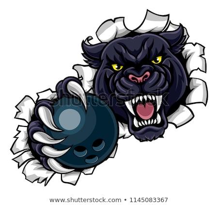 black panther bowling mascot breaking background stock photo © krisdog
