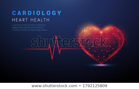 blue background with red neon hearts stock photo © sarts