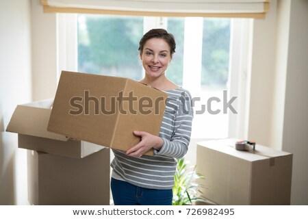 Nő hordoz doboz cserepes növény portré tart Stock fotó © IS2