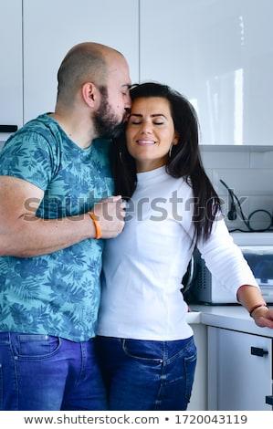 Stockfoto: Jonge · liefhebbers · genieten · permanente · keuken