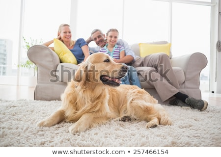 mother and daughter sitting with pet dog in living room stock photo © wavebreak_media