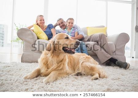 Madre figlia seduta pet cane soggiorno Foto d'archivio © wavebreak_media