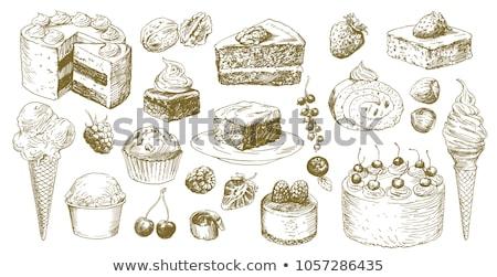 作品 手描き ブルーベリー ケーキ 桜 フルーツ ストックフォト © gladiolus
