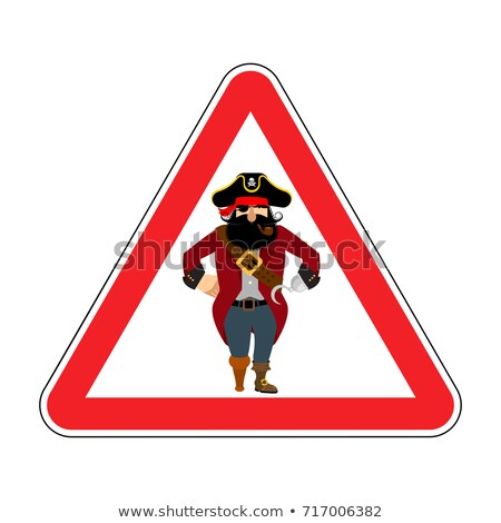 Attention pirate. red warning sign rover. Caution filibuster Stock photo © popaukropa