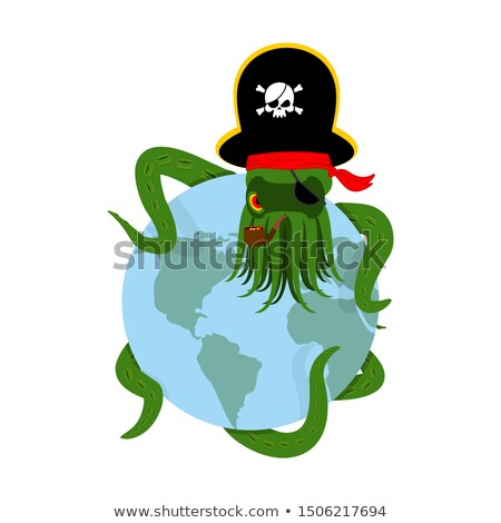 Octopus pirate and earth. poulpe buccaneer and planet. Eye patch Stock photo © popaukropa