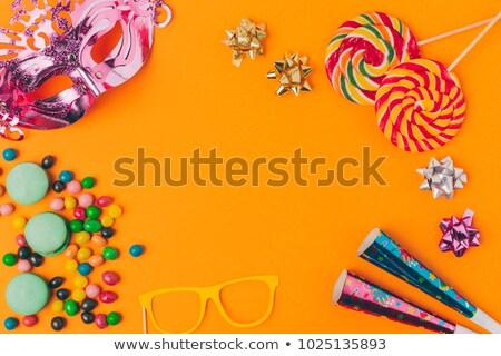 édesség buli tárgyak izolált narancs ünnep Stock fotó © LightFieldStudios