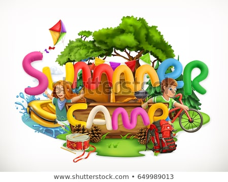 Summertime Holiday and Summer Camp poster, vector illustration. Stock photo © ikopylov