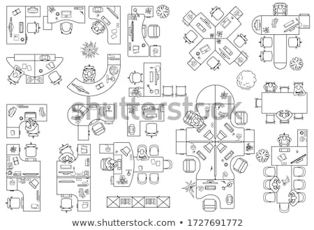 Сток-фото: Top View Vector Set Of Office Workplace
