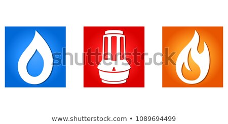 heating thermostat with fire and water icons   logo for plumber stock photo © djdarkflower