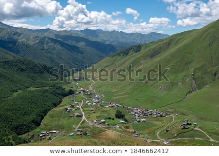 Ushguli community with stone towers Stock photo © Kotenko