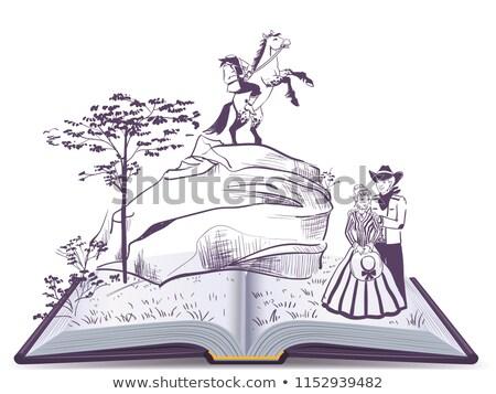 Headless horseman open page book vector illustration Stock photo © orensila