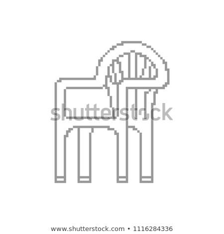 Plastic chair Pixel art. Summer furniture 8 bit. digital  vector Stock photo © popaukropa