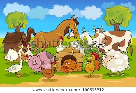 fazenda · cena · porco · vacas · ilustração · menina - foto stock © bluering