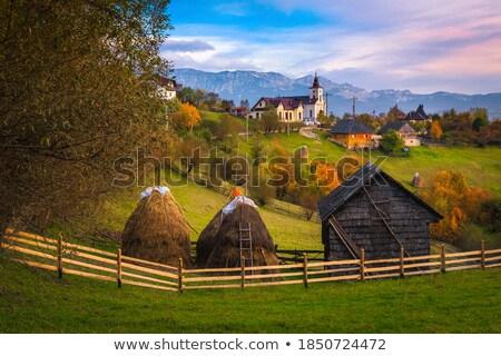 Photo stock: Automne · paysage · bois · clôture · montagne · village