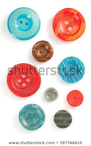 Niebieski przycisk igły wątku drewna Zdjęcia stock © OleksandrO