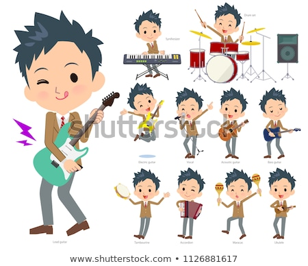 школьник зеленый музыку набор играет рок Сток-фото © toyotoyo