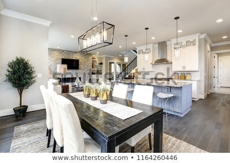 Beautiful modern kitchen in luxury home interior with island and Stock photo © iriana88w