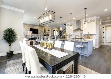 beautiful modern kitchen in luxury home interior with island and stock photo © iriana88w