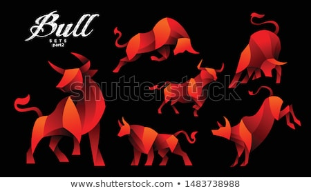 orange strong bull icon vector illustration stock photo © cidepix